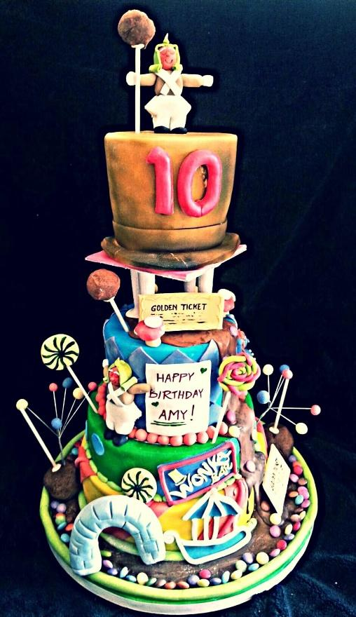 Novelty cakes example, three-tiered Willy Wanka candy cake